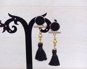 Black and gold Bohemian earrings