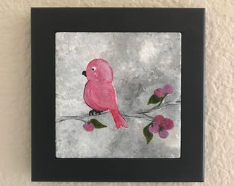 Holiday red bird tile