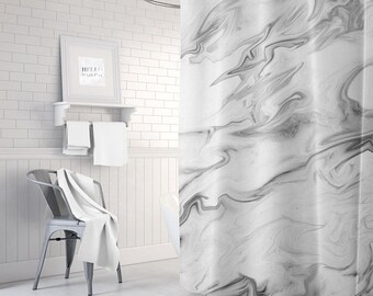 Marble Shower Curtain, Grey Shower Curtain, Bathroom Decor, Fabric Shower Curtain, Housewarming Gift, Apartment Decor, Gray