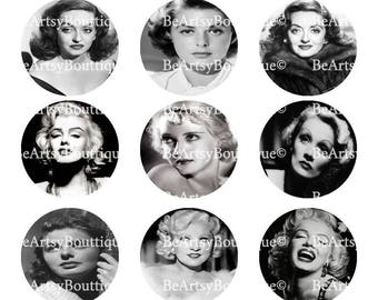 Legendary Actresses from Hollywood, Bottle Cap Images, 4x6 digital sheet 1 inch circles, Instant Download...