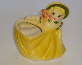 Rare American Bisque Girl with Bonnet Planter