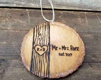 Personalized wood slice Christmas ornament, custom wooden ornament, first christmas ornament, round christmas ornament