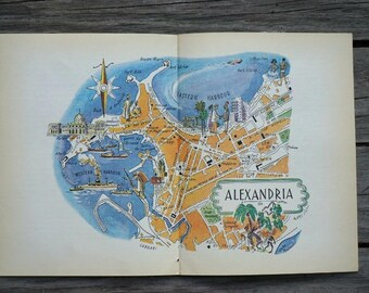 Vintage egypt map art travel map gift world map decor alexandria map art vintage map of alexandria egypt old map illustration city map gumiabroncs Image collections