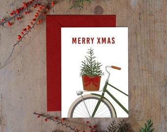 Christmas Card Printable , Christmas Tree card, Holiday cards printable, Christmas bike card, Christmas cards printable