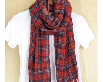 "Red plaid tartan Scarf : cotton double gauze - red, gray, black and white check / frosty red  - 14.5"" wide thin light weight scarf"