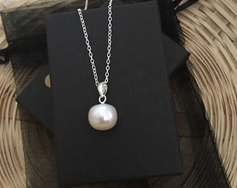 Sterling Silver and White Fresh Water Pearl 10mm Button Pearl Necklace