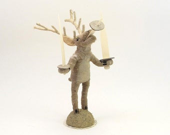 Spun Cotton Vintage Style Woodland Circus Sword Swallowing Reindeer Figure (MADE TO ORDER)