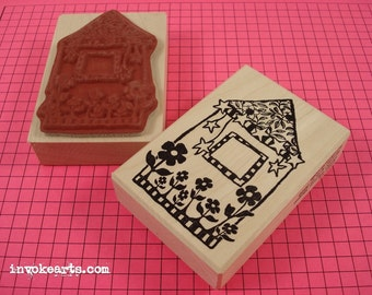 Funky Flower House Frame Stamp / Invoke Arts Collage Rubber Stamps