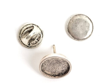 Jewelry Kit for Embroidery Lapel Pin Mini Circle - Silver