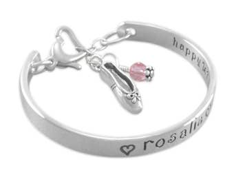 Childs Cuff Bangle Bracelet, stamped engraved sterling silver, ballet recital gift, charm bracelets little girl, personalized, ROSALIE