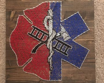 "16""x16"" EMS Paramedic/Firefighter Support Emergency Services String Art Wood Sign Wall Art Home Decor"