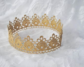 "Gold Princess Lace Crown - ""Small Floret"" - fairy tale, royalty, birthday crown, bridal crown, bachelorette party"