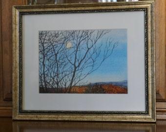Moon Setting watercolor giclee print, Autumn in Pennsylvania. bare trees