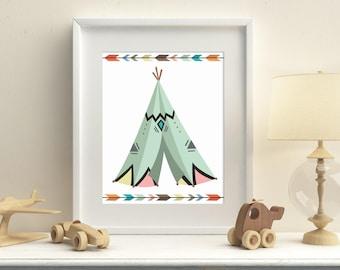 Tribal teepee nursery printable wall art, gender neutral playroom tribal wall decor, instant download tribal teepee wall art