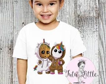 Groot - Baby Groot und Einhorn-Body-Tshirt - Hüter der Galaxie - ich bin  Groot - Groot Shirt - Einhorn-Shirt - mehrere Farben zur Auswahl 75616e048e