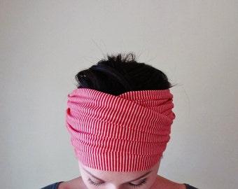 STRIPED Head Scarf, Red and White Jersey Head Wrap, Extra Wide Headband, Yoga Headband, Turban Headbands for Women, Striped Headband