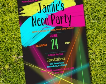 Neon Party Theme Invitation - Instantly Downloadable and Editable File - Personalize at home with Adobe Reader