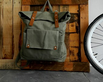 Olive leather canvas diaper backpack,Back to school laptop backpack ,Unisex travel satchel Rucksack /SALE 25% - no.105 ALLISON