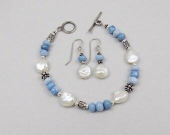 Blue Peruvian Opal and Freshwater Pearl Bracelet & Earrings
