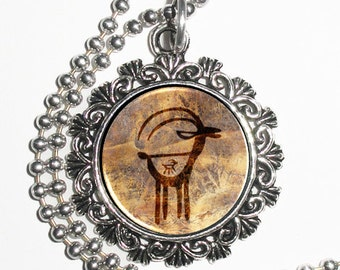 Pregnant Antelope Art Pendant, Cave Drawing Resin Photo Charm Necklace
