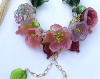 Romantic Lampwork Spring Floral Necklace,  Pink Bouquet, Festive Glass Necklace, delicate Floral Necklace Unique Gift, Made to Order