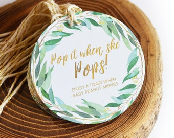 Green Wreath Baby Shower Favors, Pop it when she pops, Gender Reveal, NatureTheme,Personalized Gift Tags,Champagne Baby Shower Tags,Greenery