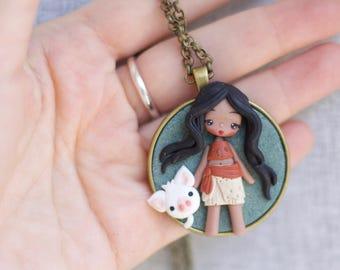polymer clay necklace / MOANA necklace / disney