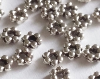 50pcs Antique Silver Flower Beads 3mm - Spacers Metal Jewelry Findings Supplies - B03117