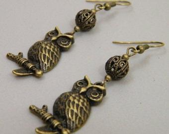 Ornamental Owls - Antique Brass Filigree Sitting Owl Dangle Drop Earrings Wise Owl Bird Wisdom Wizard Geek Antique Bronze Gold