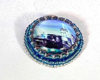 Cityscape brooch, bead embroidered pin, bead embroidery jewelry, city scape, bead brooch, shawl pin, scarf pin, gift for her, skyline brooch