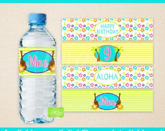 Luau Water Bottle Labels - Luau Water Bottle Wraps - Hawaiian Luau Bottle Labels- Hawaiian Luau Party Decor - Emailed & Shipped
