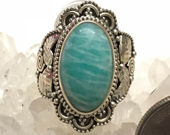 Russian Amazonite Ring  Size  9 1/2