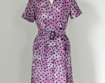 vintage 90s ANNE KLEIN purple and white abstract pattern & dots print midi dress with belt, JP size 9