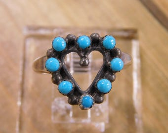 Heart Turquoise Sterling Silver Ring Size 10