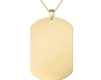 Personalised Engraved Stainless Steel Dog Tag with Chain – Gold