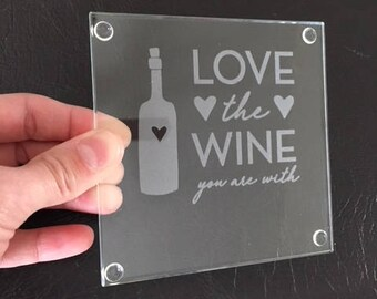 Glass Coasters with Wine Phrases and Pictures