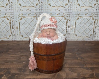 Newborn Elf Hat, Girl, Cream, Coral, Unique, Merino Wool, Recycled Sari Silk, Tassel, Shabby Chic, Cute Photo Prop, Newborn, Ready to Ship