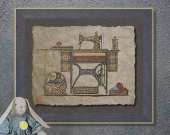 Nostalgic Treadle Sewing Machine Art Whimsical yesteryear print adds Americana art to sewing room wall decor as 8x10 or 13x19 print