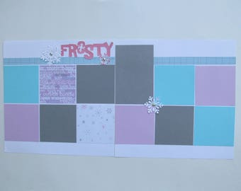 Frosty Premade or DIY Kit,12x12 Scrapbook Layout,  Scrapbook Page Kit,