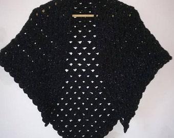 Glittery black shawl wool wedding