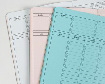 Weekly Timed Midori inserts Traveler's notebook insert - Weekly Planner - 5 sizes and 19 solid colors[N034]
