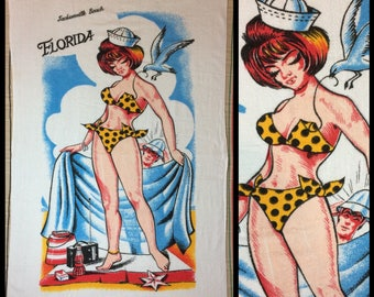 1970s sexy sailor bikini cigarettes radio pin-up souvenir cotton beach towel by St. Mary Jacksonville Beach Florida pinup woman spring break