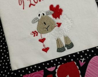 "Handmade "" Valentine I Love Ewe"" hand towel"