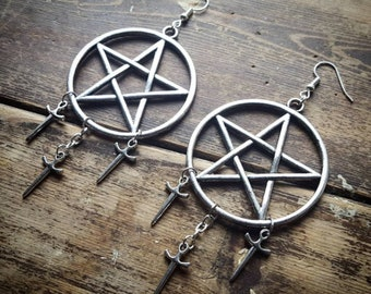 Gothic Witchy Silver Tone Pentagram and Daggers Earrings