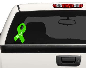 Cancer Ribbon with Word - Hope, Fighter, Strong, or Survivor - Support Ribbons , Awareness Ribbons, Vinyl Ribbons in choice of Colour