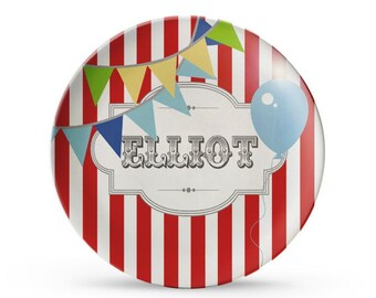 Personalized Plate, Carnival Plate, Personalized Circus Birthday, Carnival Party, Children's Melamine Plate