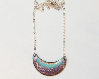 Crescent bib enamel necklace Aqua green and purple moon necklace Enameled copper bohemian jewelry Gift for her