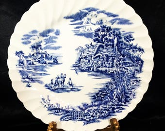 A beautiful, ironstone, vintage, blue and white plate