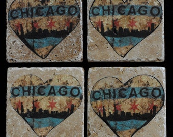 I Heart Chicago Coasters