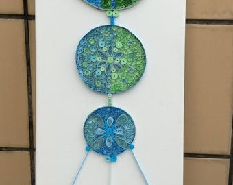 Quilling Dream Catcher Art on Canvas - Paper quilled wall art